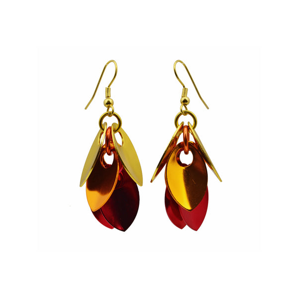 Cascading Leaves Short Earrings - Flame