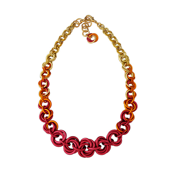 Knotted Graduated Necklace - FLAME Ombre