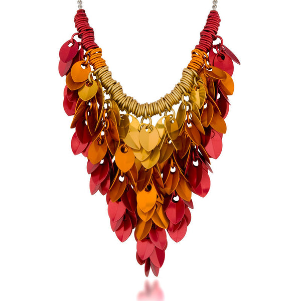 Cascading Leaves Bib Necklace - FLAME
