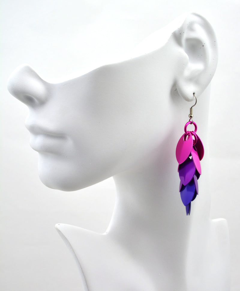 Long Feathered Earrings - Petunia Ombre