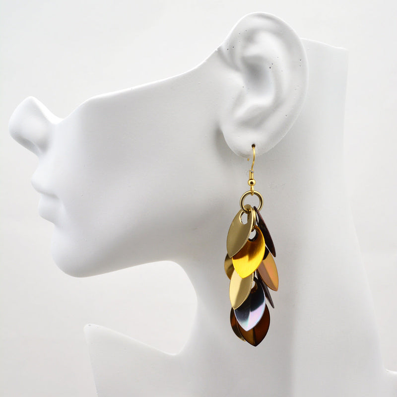 Cascading Leaves Long Earrings - Brown Metallic Mix