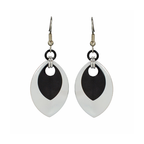 Double Leaf Earrings - Silver & Black