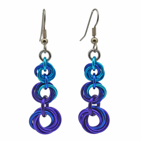 Knotted Metal Earrings - Water