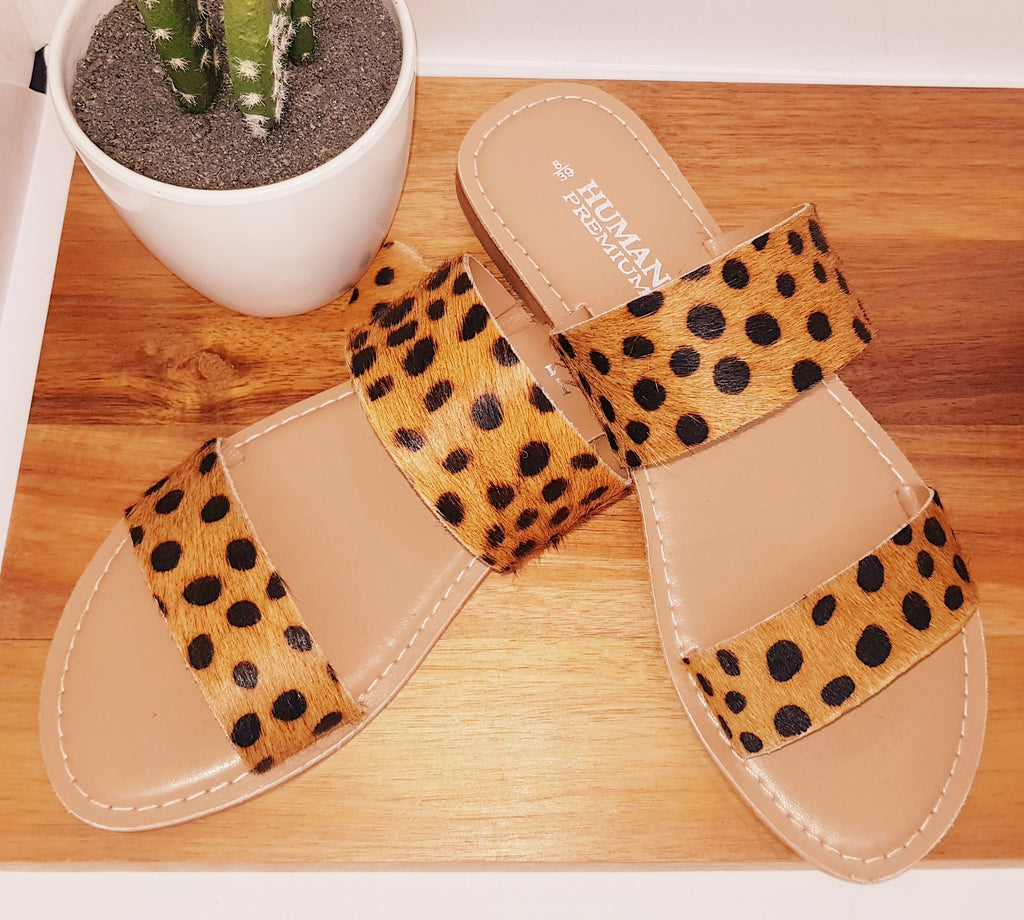 Leopard Print, Cow Hide Sandals