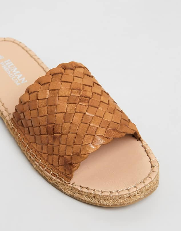 Hand Woven Leather Slides - Tan