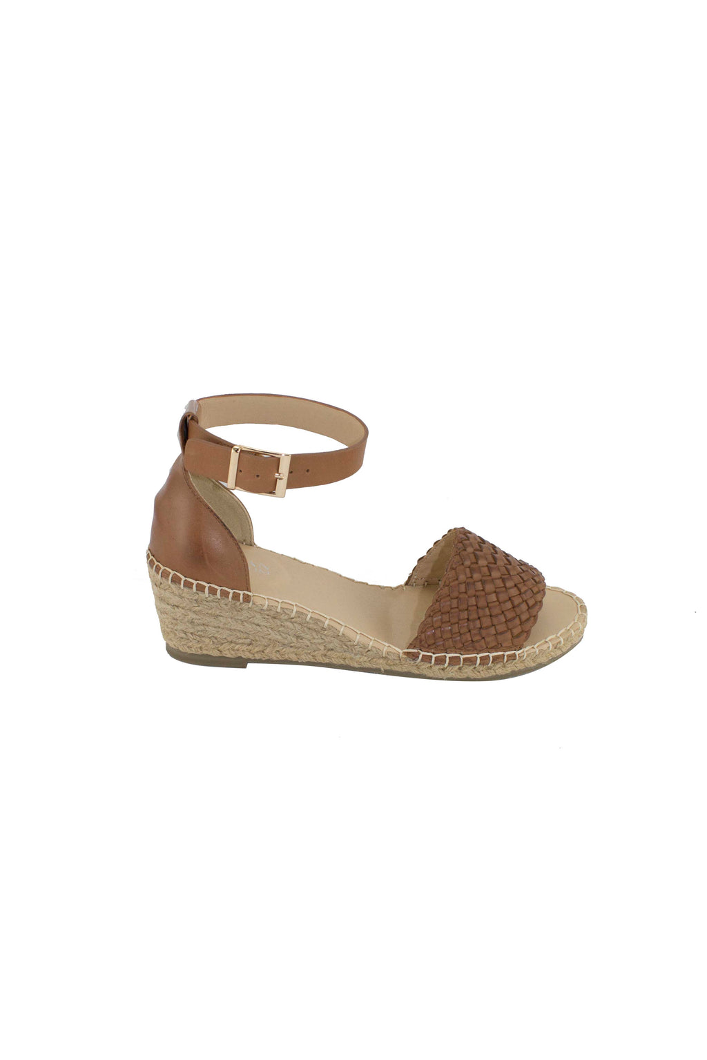 Habit Woven Leather Wedge - Tan
