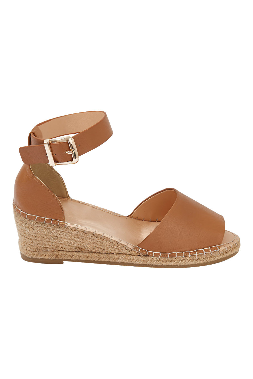 Helene in Tan - Leather Wedge