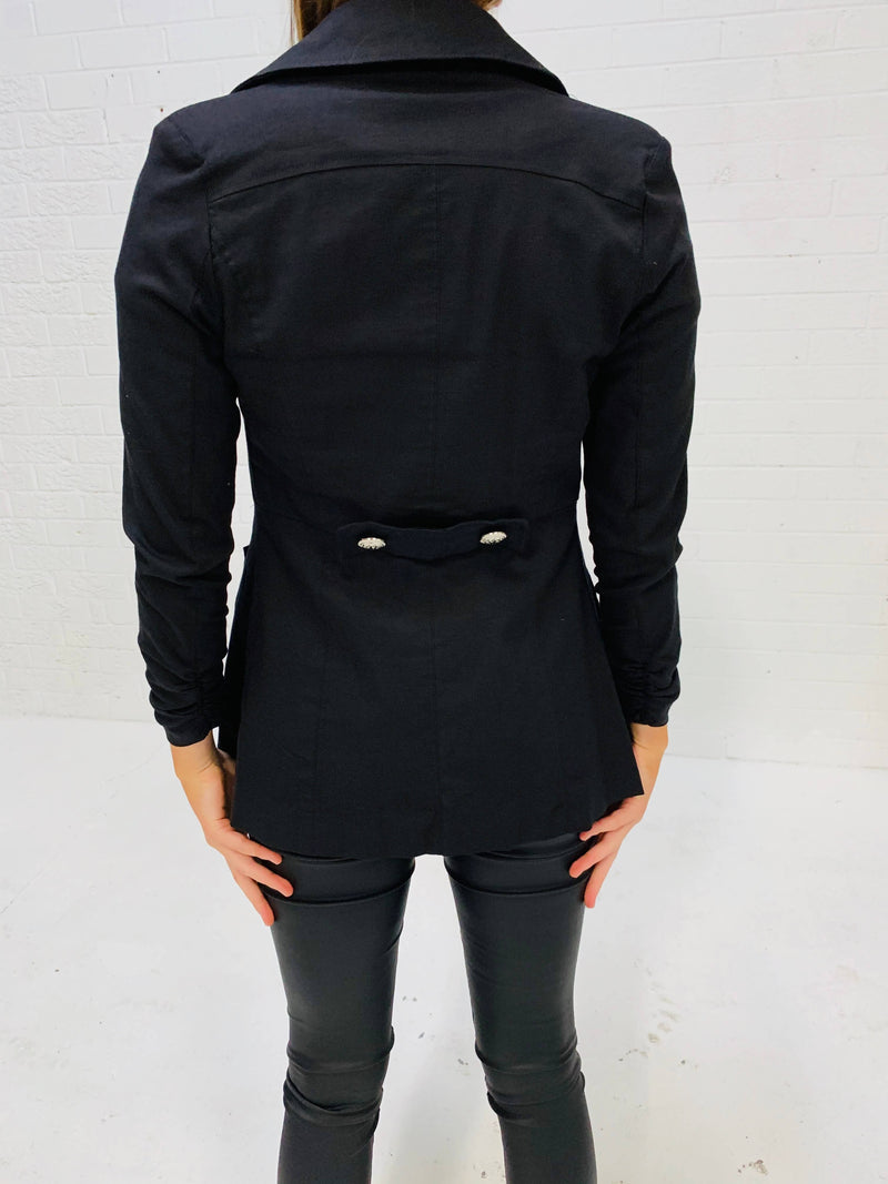 3/4 Sleeved, Double Breasted Jacket - Black