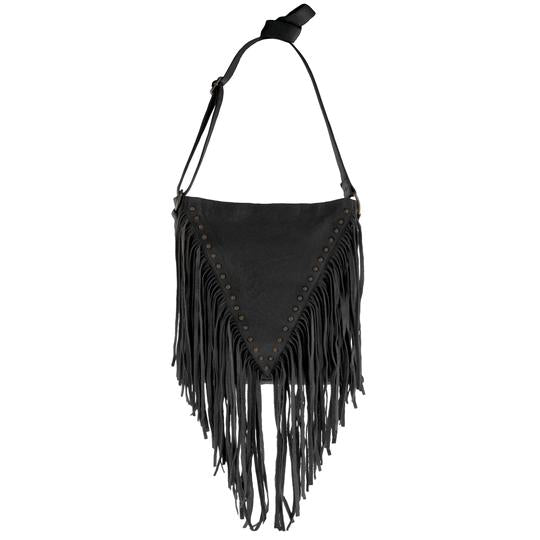 Rockhampton Leather Fringed Crossbody Handbag - Black