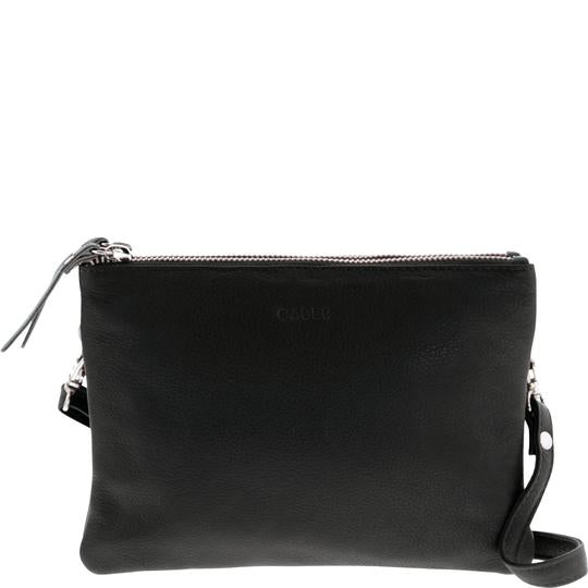 Fulton Soft Leather Double Pouch Crossbody Handbag - Black
