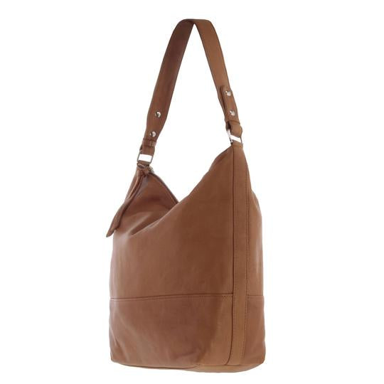 Paige large Soft Leather Hobo Bag - Tan