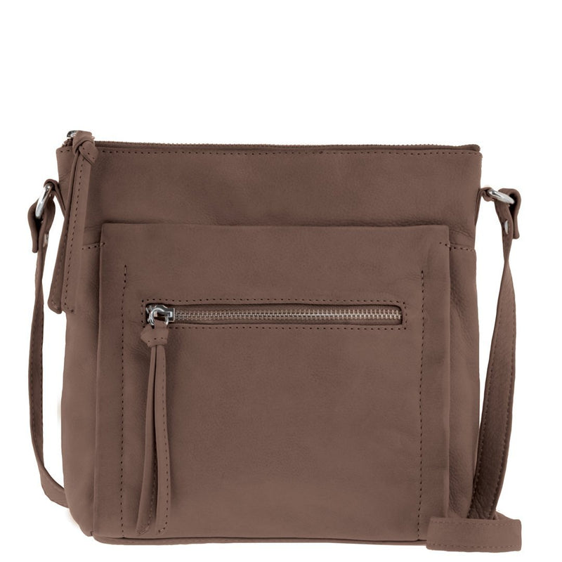 Jacqui Soft Leather Front Zip Crossbody - Taupe