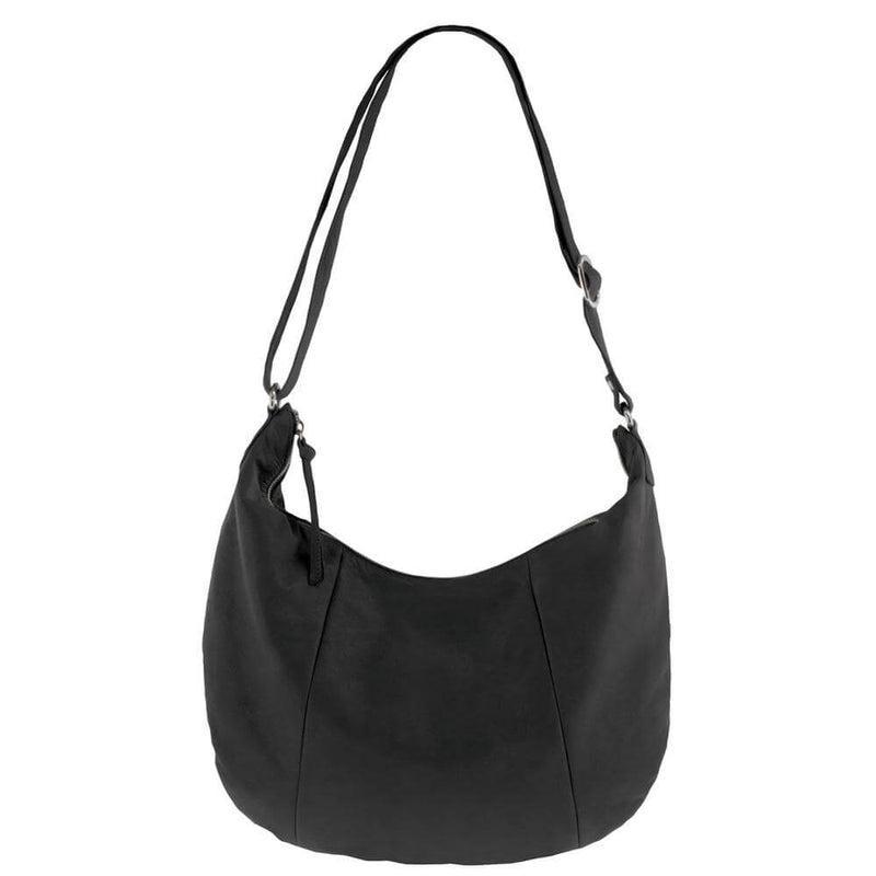 Soft Leather Slouch Bag, Black