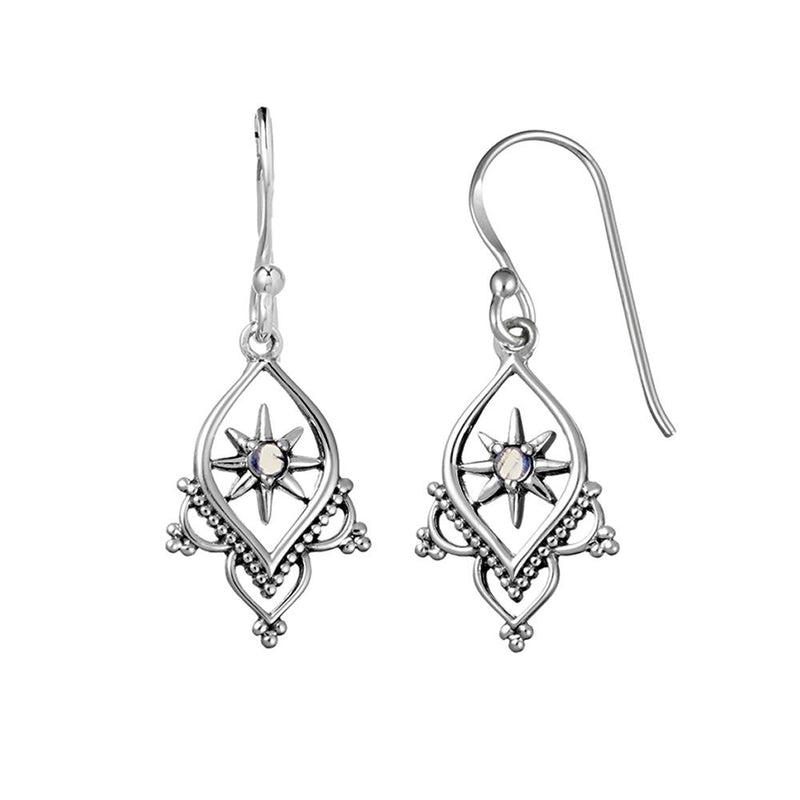 Sterling Silver Astral Temple Moonstone Earrings