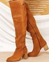 Marlee Knee High Boots - Tan Suede Leather