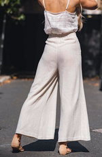 Lovely Linen Pants - Tie Waist - Oatmeal