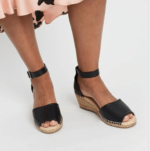 Black Leather Helene Wedges,