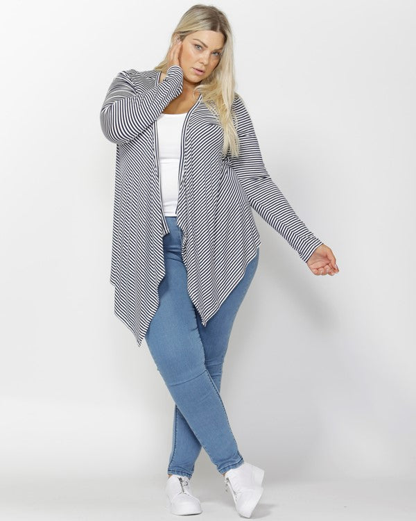 Melbourne Cardigan - Navy and White Stripes