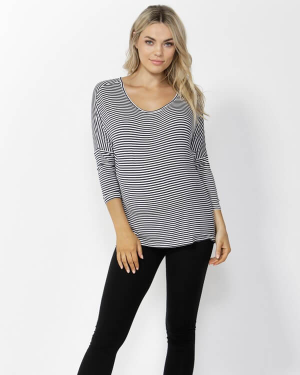 Milan 3/4 Sleeve Top - Navy and White Stripes