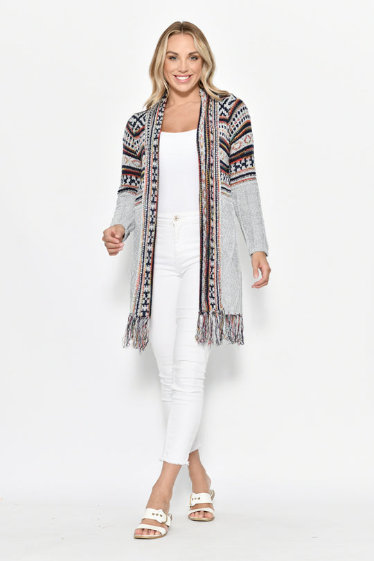 Long Aztec Design Cardigan - Grey