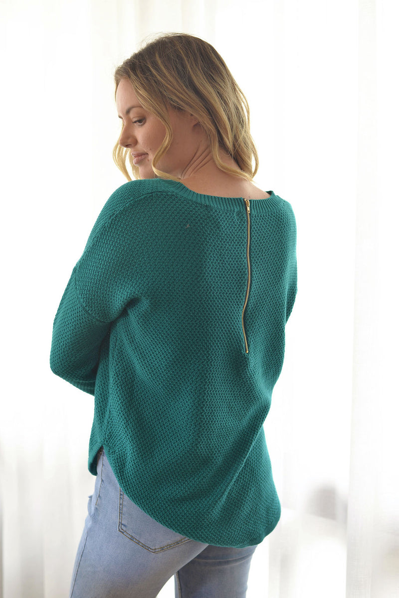 Zip back Jumper - Teal