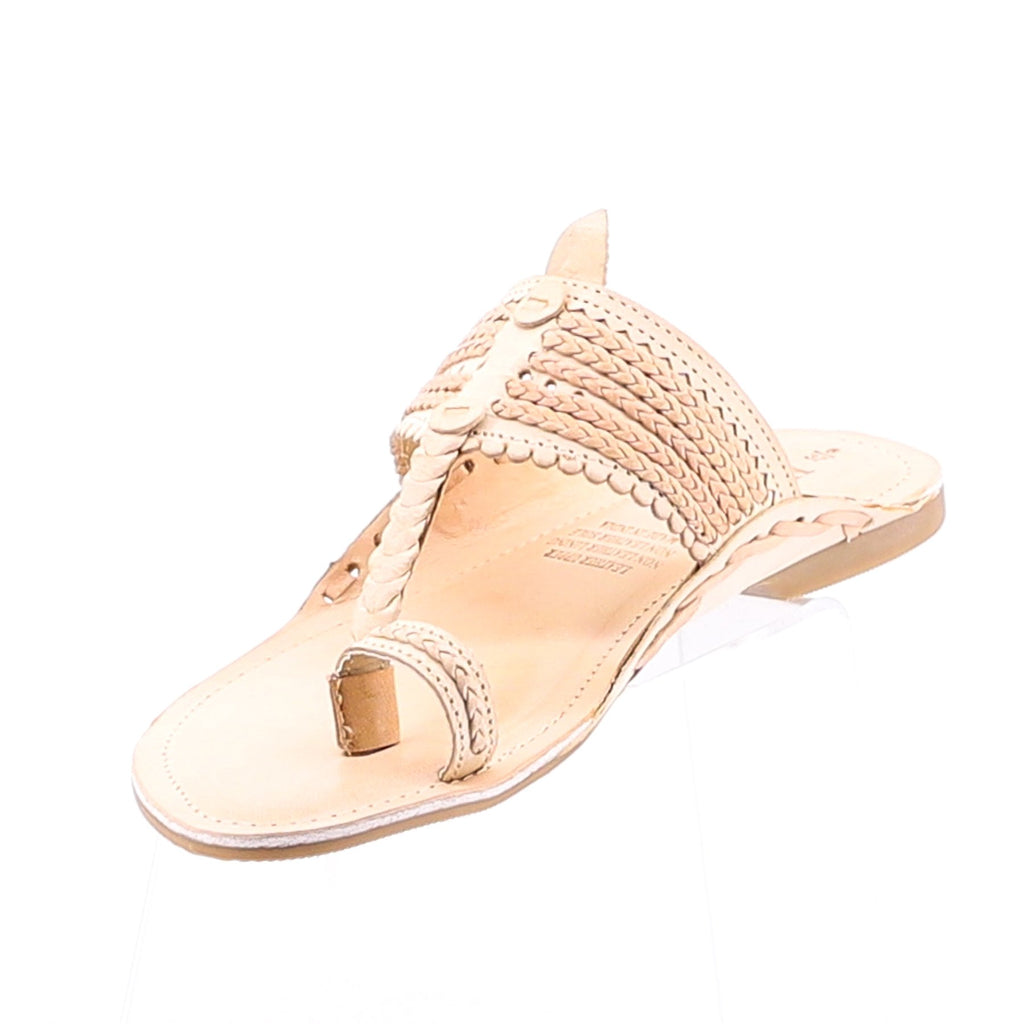 Leather Slip on Sandals - Natural