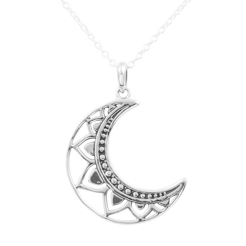 Sterling Silver Mandala Moon Necklace