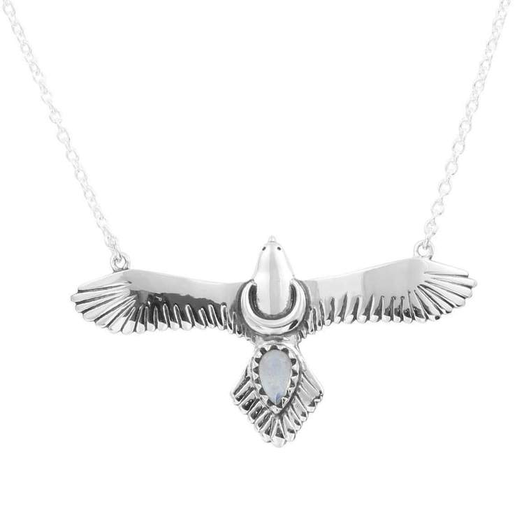 Sterling Silver Moons Eagle Necklace