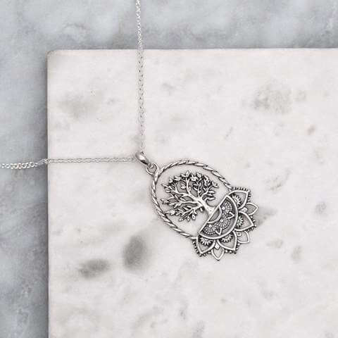 Mandala Tree Necklace - Stirling Silver