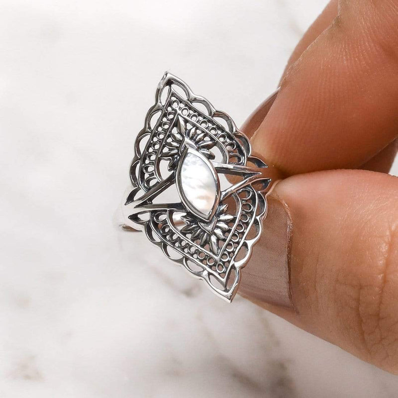 Shikhara Pearl Ring - Stirling Silver