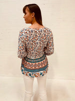 Burnt Orange and Blue Floral Top