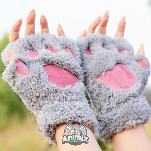 Cute Cat Claw Paw Plush Mittens