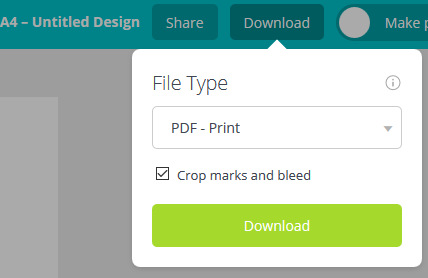 save canva as PDF - for Print