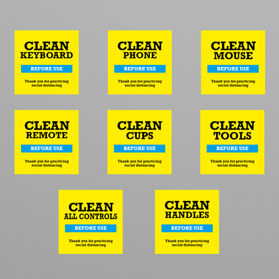 Social Awareness Stickers Yellow Style - Clean 50x50mm
