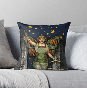 "Trick or Tarot ""Halloween Angel"" Throw Pillow"