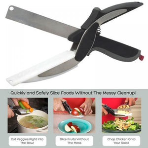 2in1 Knife  Cutting Board Scissors Cleaver Cutter Tool