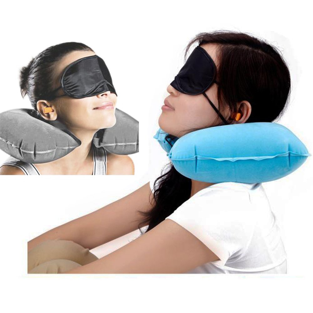 3 in 1 Travel Set Air Cushion Neck Pillow  Eye Mask Ear Plugs