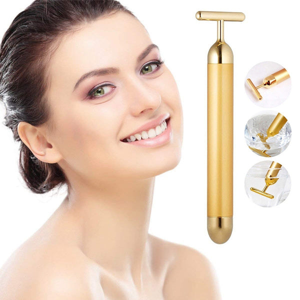 24K Gold Plated Beauty Bar Facial Roller Face Vibration Skincare Massage Face Lift Firm Electric
