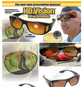 HD VISION Day & Night Driving Wrap arounds UV400 Protection fits over glasses Set Of 2
