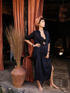 The Jaipur Dress, Black (silk&cotton)