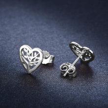 Load image into Gallery viewer, Tree of Life Earrings, 925 Sterling Silver Hearts Stud Earrings Gifts for Women Family