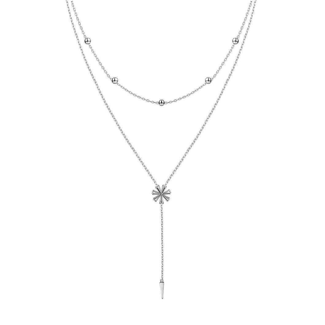 Double Layered Necklace S925 Sterling Silver Y Shape Lariat Necklace Long Chain Women Girls Jewelry