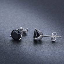 Load image into Gallery viewer, Black Studs Earrings Round Cubic Zirconia Sterling Silver Hypoallergenic Piercing Ear Studs