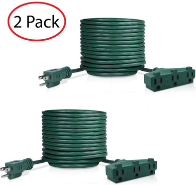 2 Pack Of 25 Feet 3 Outlet Extension Cord