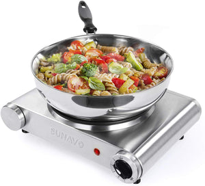 Hot Plate for Cooking Portable Electric Single Burner 1500W 5 Power Levels Cast-Iron Stainless Steel Silver