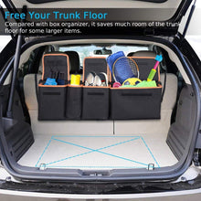 Load image into Gallery viewer, Backseat Trunk Organizer, Space Saving Car Trunk Organizer with Bottom Plate and Lid Trunk Storage