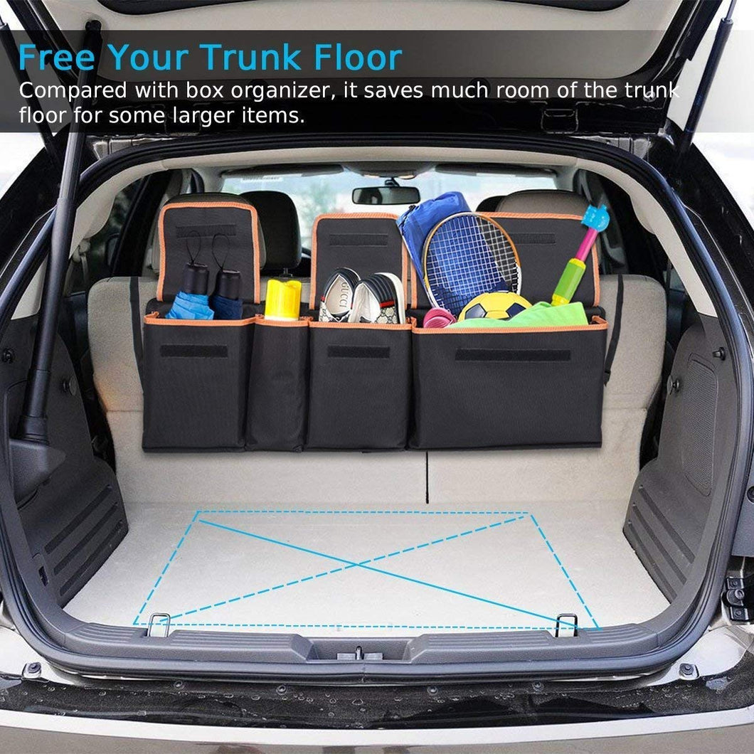 Backseat Trunk Organizer, Space Saving Car Trunk Organizer with Bottom Plate and Lid Trunk Storage