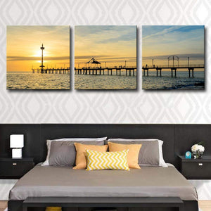Modern Ocean Art Canvas Prints, Sunset Over A Bridge Contemporary Seascape Artwork Ocean Pictures to Printing Paintings 3 Panel Wooden Framed Wall Art