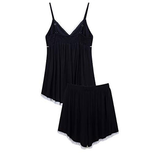 Pajamas for Women Set V Neck Sexy Nightgown Lace Hot Sleepwear Stretch