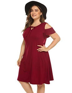 Women Summer Plus Size Cold Shoulder Ruffle Sleeves Casual Loose Dresses with Pockets(L-5XL)